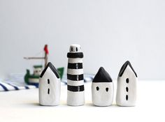 Little Village with Three Houses and a Striped by rodica on Etsy