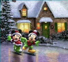 Mickey Mouse et Minnie. Mickey Mouse Christmas, Christmas Cartoons, Mickey Mouse And Friends, Mickey Minnie Mouse, Christmas Art, Xmas, Walt Disney, Disney Love, Disney Mickey