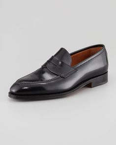 An otherwise perfect appearance is immediately irreparably destroyed if you wear a wrong, ugly, inappropriate, unclean or even broken pair of shoes. For more information about business attire visit www.executive-image-consulting.com. To find the best place to repair your shoes in NYC check out http://executive-image-consulting.com/homepage/top-10/shoe-repair-in-new-york/  Principe Leather Penny Loafer, Black by Bontoni at Bergdorf Goodman.