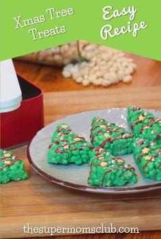 Christmas Tree Rice Krispies Treats Recipe - The Super Moms Club Rice Krispy Treats Recipe, Rice Krispie Treats, Rice Krispies, Xmas Tree, Free Food, Christmas Crafts, Easy Meals, Diy Crafts, Cookies