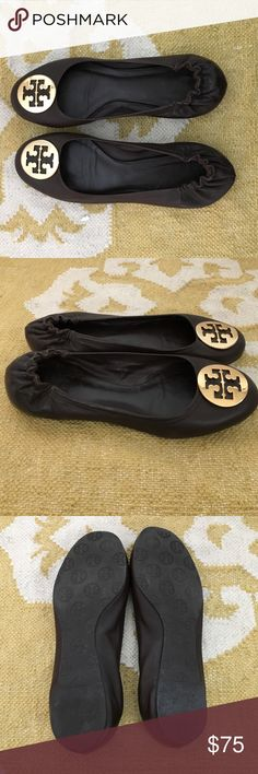 Tory Burch Dark Brown Reva Flats Tory Burch Reva flats in dark brown.  Gold Tory Burch logo. Leather upper and lining. The shoes have previously been worn but were worn only a few times and are in excellent condition. Size 8.5. Tory Burch Shoes Flats & Loafers