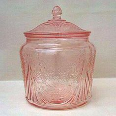 Depression Glass Cookie Jar - Pink Royal Lace