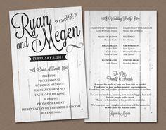 Dark or White Wood Wedding Program by HummingbirdShops on Etsy