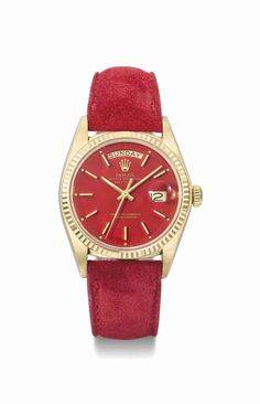 Rolex. A rare and attractive 18K gold automatic calendar wristwatch with red lacquer dial, circa 1977 #ChristiesWatches