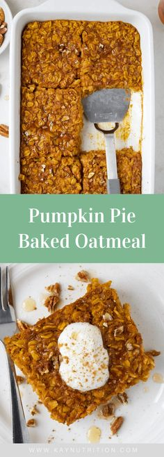 Made with rolled oats and sweetened with maple syrup, this pumpkin baked oatmeal is a healthy breakfast packed full of fibre and flavour. Healthy Oatmeal Recipes, Healthy Baking, Healthy No Bake, Healthy Pumpkin Desserts, Healthy Fall Recipes, Healthy Delicious Recipes, Pumpkin Baking Recipes, Tasty, Healthy Dishes
