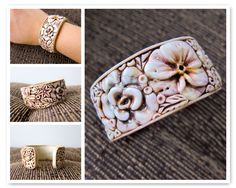 Ivory Flowers Cuff