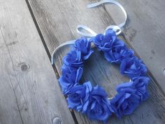 Blue Rose Flower Crown Headband renaissance Flamenco  Floral Headpiece Frida Kahlo indigo  bride girl big large festival