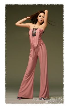 Strapless Wide leg Jumpsuit for Women Pink on BuyTrends.com, only price $11.62