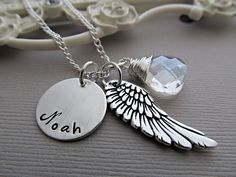 Personalized necklace Hand Stamped Jewelry Monogram Necklace Angel Wing Jewelry Custom Gemstone. $36.00, via Etsy.