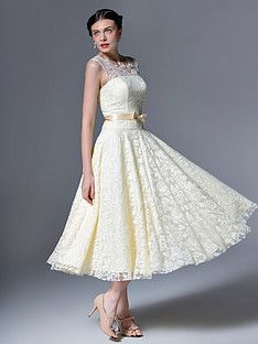 Lace Tea Length Gown | Plus and Petite sizes available! Hundreds of styles, tons of colors!