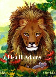 """""""In the Arms of the King"""" Lion Mouse Christian Spiritual Wildlife Art print of…"""