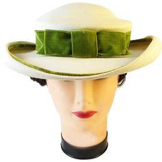 58246fd406e Vintage M. O Neil cream straw hat with green bow Velvet Ribbon
