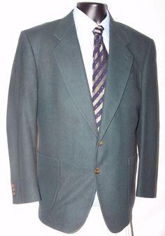 Oscar De La Renta Fully Lined Green Wool Men's Sport Coat Size 42R  #OscardelaRenta #TwoButton