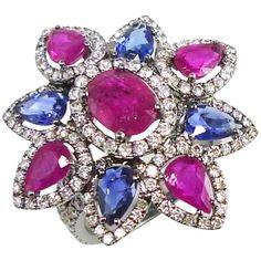 Blue Sapphire Ruby Diamond Flower Cocktail Ring