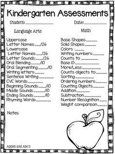 Jahresendbewertungen für den Kindergarten - Pre-K-Kindergarten - Baby Kindergarten Report Cards, Kindergarten Assessment, Kindergarten Readiness, Homeschool Kindergarten, Kindergarten Schedule, Reading Assessment, Letter Assessment, Online Homeschooling, Nursing Assessment