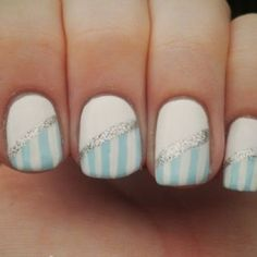 Beginner nails! Paint whole nail white, and wait till completely dry. Take sparkley polish and strip slanted. Then take any polish and make straight strips all across the bottom of the nail