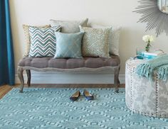 Gorgeous palette.  Softly Patterned - Rugs, Pillows & Accents in Neutral Hues