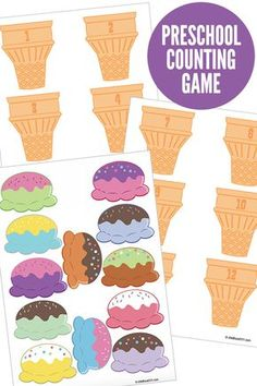 A fun, free printable preschool counting game that invites preschoolers to count and match ice cream scoops to numbered cones. - Kids education and learning acts Numbers Preschool, Preschool Printables, Preschool Learning, Preschool Activities, Learning Skills, Space Activities, Early Learning, Math Games For Preschoolers, Life Skills