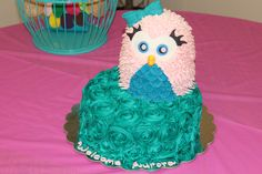 Pink Owl Baby Shower Cake - All bc icing with fondant face, bow, and tummy on owl.