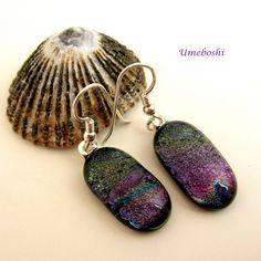Spring hyacinth dichroic fused glass handmade earrings with sterling silver ear wires, purple, violet and green earrings, drop earrings by Umeboshi Jewelry Designs