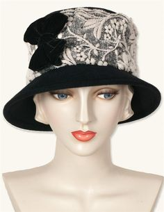 LOUISE GREEN VELVET TRIMMED CLOCHE