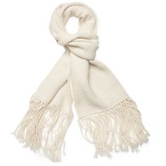 "Helmut Lang Women's Wool & Cashmere Long Scarf, 78"" x 15.5"" - White (380 CAD) ❤ liked on Polyvore featuring accessories, scarves, white, white shawl, cashmere shawl, wool shawl, oblong scarves and wool scarves"