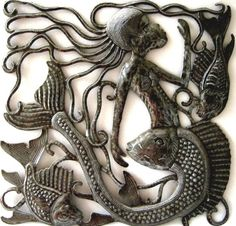 Mermaid Art - Handcut Metal Wall Hanging - Metal Mermaid - Mermaid Wall Deocr - Handcrafted Haitian Steel Drum Art - Metal Wall Hanging  by HaitiMetalArt  Metal Mermaid – Mermaid Art- Mermaid Wall Hanging – Mermaid Design – Mermaid Wall Decor - Haitian Metal Art, Recycled Steel Drum Art of Haiti, Metal Wall Decor - Handcrafted Metal Art  - Haitian Art – Haitian Steel Drum Metal Art – Metal Wall Hanging – Metal Wall Art of Haiti - Haiti - Metal Art - Haitian  Home Décor -