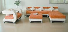 Modern and Contemporary Furniture Decoration Ideas in the Living Room with Comfortable L Shaped Orange and White Fabric Sofa and Simple Square Shaped Fabric Table Cover Waiting Room Furniture, Office Waiting Room Chairs, Office Chairs, Leather Sectional Sofas, Modern Sectional, Couches, Office Furniture Design, Furniture Decor, Sofa Design