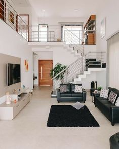 Minimal House Design, Modern Small House Design, Small House Interior Design, Modern Exterior House Designs, Home Stairs Design, Home Building Design, Dream Home Design, Home Design Plans, Small House Interiors