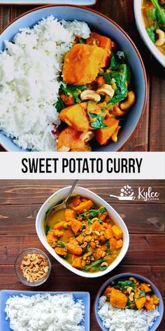 Sweet Potato Curry (with Spinach & Cashews) The warm spices, the creamy coconut, the crunchy cashews – make this a really worthwhile dinner. This sweet potato curry hits all the right spots. Cashew Recipes, Curry Recipes, Indian Food Recipes, Healthy Recipes, Veggie Indian Food, Vegetarian Recipes Coconut Milk, Vegetarian Recipes Videos, Soup Recipes, Sweet Potato Curry