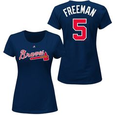Atlanta Braves Freddie Freeman Name & Number T-Shirt by Majestic Athletic Braves Game, Chris Davis, Women Names, Baltimore Orioles, Los Angeles Dodgers, Comfy Casual, Atlanta Braves, Boston Red Sox, Baseball Cap