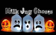 Halloween craft for kids: Milk Jug Ghosts