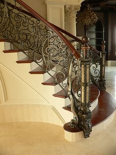 Exquisite hand forged Railing for curving staircase
