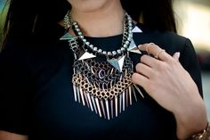 Layering necklaces.