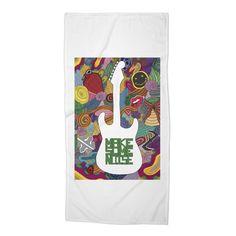 """Make some noise (music)"" #beach #towel by #Beatrizxe   #Threadless It's inspired in the feeling that music brings #music #guitar #doodle #synesthesia #nirvana #greenDay #evanescence #withinTemptation #RollingStones #colour #noise #melody #color #artwork #artist ///// Está inspirada en los sentimientos que la música provoca #guitarra #sinestesia #ruido #artista #creatividad"