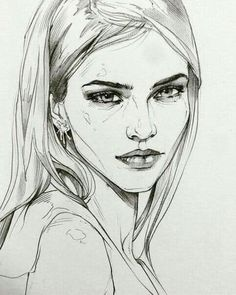 Ideas For Drawing Pencil Portrait Girls Illustrations Cool Art Drawings, Pencil Art Drawings, Easy Drawings, Drawing Sketches, Drawing Ideas, Sketching, Human Face Drawing, Girl Face Drawing, Drawing Faces