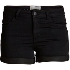 PIECES Just Jute Regular Waist Shorts (35 BGN) ❤ liked on Polyvore featuring shorts, bottoms, pants, black and fold over shorts