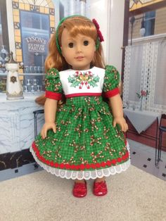 """American Girl Christmas Hand Embroidered Dress or other 18"""" Dolls by…"""