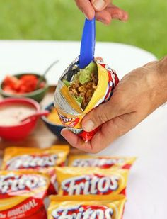 Walking #Tacos, a no mess, fun taco made with #Fritos + fixings! {would be perfect for #FritoChiliCheesePie too} // The Girl Who Ate Everything