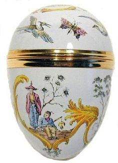 Handpainted Large Enamel Egg: Chinoiserie by Crummles & Co. $39.95. Limited quantities. Handpainted. Made in England by Crummles & Co. Faberge Style. Gifts & Message can be inserted inside. Eggs are the symbol of Easter. This egg is made of copper, and hand painted in enamel in England in the Faberge style. The egg is designed to open in the middle by unscrewing, so you can insert a small trinket, message or gift inside. The bezels of the egg are gold plated in ...