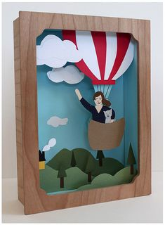 Balloon Adventure Shadow Box Kit by JaymeMcGowan on Etsy 3d Paper, Paper Crafts, Diy Crafts, Shadow Box Kunst, Diy Shadow Box, Art For Kids, Crafts For Kids, Art Plastique, Elementary Art