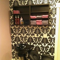 Damask wall paper in my hair salon