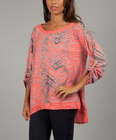 Another great find on #zulily! Salmon Zebra Valéria Sequin Scoop Neck Top #zulilyfinds