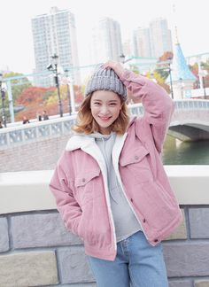 Faux Wool Lined Corduroy Jacket (Pink) | STYLENANDA