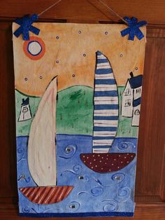 Summer art banner painting decorated front door fabric sign on Etsy, $35.00