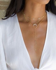 Gold Lariat Necklace, Upside Down Moon Necklace, Gold Layered Necklace, Gold Double Horn Necklace, G 14k Gold Necklace, Cluster Necklace, Moon Necklace, Lariat Necklace, Pendant Necklace, Layered Necklace, Layered Chokers, Prom Jewelry, Body Jewelry
