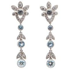 Tiffany & Co. Aquamarine Diamond Platinum Drop Earrings