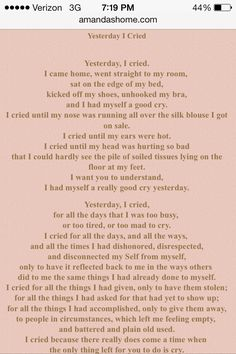 Iyanla vanzant yesterday i cried poem