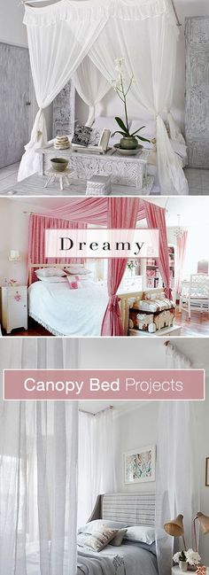 Dreamy Canopy Bed Projects Lots of Ideas & DIY Tutorials! - Canopy - Ideas of Canopy Home Bedroom, Girls Bedroom, Bedroom Decor, Girl Rooms, Bedding Decor, Rustic Bedding, Bedroom Ideas, Diy Canopy, Bed Canopies