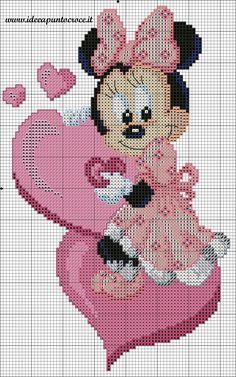 Schema baby minnie punto croce ponto cruz вышивка крестом, в Disney Cross Stitch Patterns, Counted Cross Stitch Patterns, Cross Stitch Charts, Cross Stitch Designs, Cross Stitch Embroidery, Embroidery Patterns, Hand Embroidery, Disney Stitch, Mickey Mouse And Friends